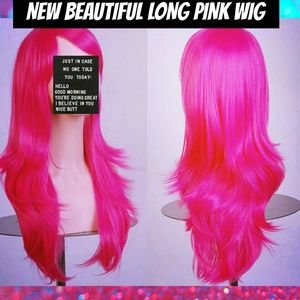 Other - NEW PINK Long wavy full Wig